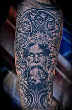 ZEUS ! by LITOS - full sleeve tattoo, almost final black and gray project photo