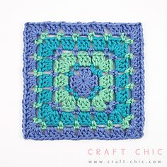 Most commonly referred to as the block stitch, but sometimes called the mosaic stitch or dot stitch, this square features little pops of color between rounds of the classic granny stitch.