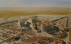 Baalbek in northern Lebanon. The largest temple complex in the classical Roman world, completed in the 3rd century AD. Image based on research and various aerial photos of the site. Balage Balogh/Archaeologyillustrated.com