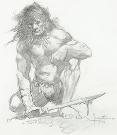 Frank Frazetta - Barbarian Drawing Illustration Original | Lot #92074 | Heritage Auctions