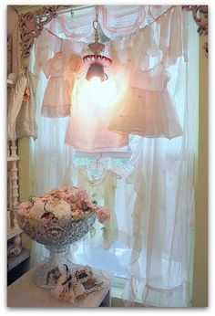 vintage dresses as curtains by Karla's Cottage on Flickr.