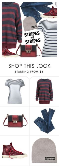 """""""Pattern Challenge: Stripes on Stripes"""" by pokadoll ❤ liked on Polyvore featuring Converse, Alexander Wang and Hedi Slimane"""