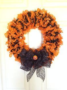 Halloween Wreath Fall WreathPumpkin Wreath. 16 by 4seasonsWreaths