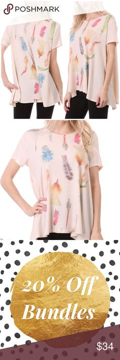 🚨❗️SALE❗️🚨Fall Leaves Cream Tunic Top Fall leaves design on a cream tunic top featuring a round neckline. Loose fitting. Made of polyester/ rayon/ spandex blend. Marled silk. Also available in gray color. Marled. MADE IN USA Bchic Tops Tunics