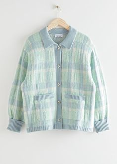 Short Boxy Jacquard Knit Cardigan - Blue Checks - Cardigans - & Other Stories Denim Button Up, Button Up Shirts, Blue Check, Fashion Story, S Models, Knit Cardigan, Jean Outfits, Cropped Jeans, Casual Tops
