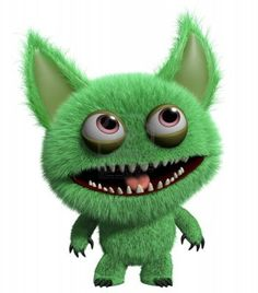 3d cartoon cute furry gremlin monster Stock Photo