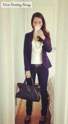 Ella Pretty: H Blazer, J.Crew necklace & tank, Old Navy ballet flats & Balenciaga bag.