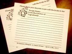 28 Personalized Custom Recipe Cards for Wedding Bridal Shower Favors Blank Cards