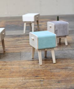 Oturakast consist of separate drawers. Each drawer has its own foldable legs. Therefore they are easily transformed into lovely stools for  the guest.