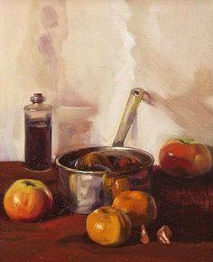 stilllifequickheart:Niccolo d'Ardia Caracciolo Apples in a Silver Pot 20th century
