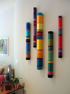 Myra Burg (pool noodles and paper mache Bamboo Art, Bamboo Crafts, Diy Wall Art, Diy Art, Wall Decor, Home Crafts, Arts And Crafts, Painted Sticks, Painted Wood
