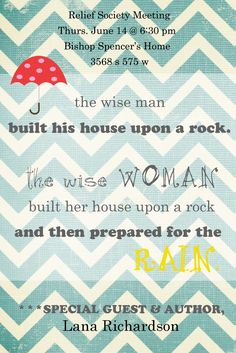 Great ideas for sharing preparedness ideas with a group @ Two Ladies and a Blog: Prepare for the Rain
