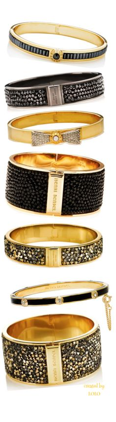 Henri Bendel, Gold and Black Bangle Stack #accessories #jewelry #housetrendsmag