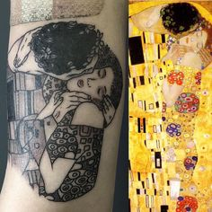 "On the right , ""The kiss "" by Gustav Klimt, on the left ""the kiss tattoo "" by Chad Norris . #aaatattoo #thekiss #thekissgustavklimt #gustavklimt #thekisstattoo #kiss #gustavklimttattoo #black #blacktattoo #blackworkers #blackworkerssubmission #bestlouisianatattooers #art #besttattoos #lafayette #louisiana"