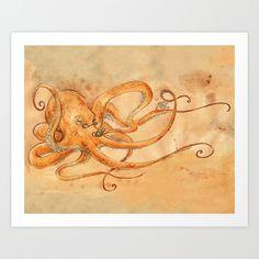 An Octopus Drinking Tea Art Print by Georgia Dunn | Society6 -- I've got my prints for sale up on Society6, I really like their service so far!