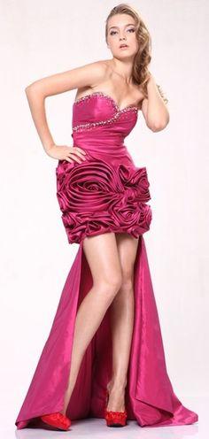 Short Rose Skirt Raspberry Above Knee Dress Strapless With Train