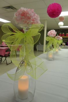 Food table centerpiece I made for Brittany's baby shower. Thank you So Shay's for making my bows.