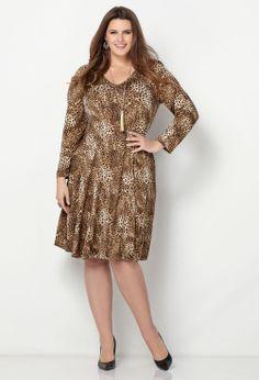 Leopard Print Sheath Dress-Plus Size Sheath Dress-Avenue