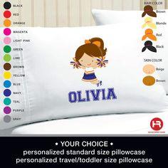 Cheerleader Pillowcase - Girl Personalized Cheerleader Pillow case - Standard Personalized Pillowcase