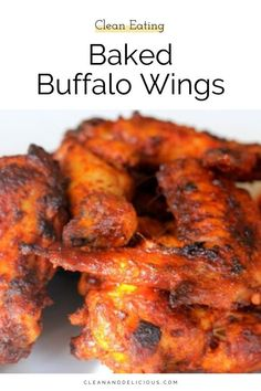 These Baked Buffalo Wings are a healthy version of a classic. Cooked in the oven until they're perfectly crispy, it's an easy recipe that's sure to be a crowd pleaser. Check out the video to see how to make this gluten free and keto snack! Baked Buffalo Wings, Baking Recipes, Snack Recipes, Clean And Delicious, Healthy Sweets, Healthy Chicken Recipes, Keto Snacks, Food Print