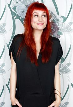 Alison Sudol with short fringe & long red hair. Tried red hair, too much maintenance which sucks since it's so beautiful