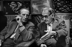 Marcel Duchamp and US artist Man Ray, at Man Ray's home. Paris, France. 1968.