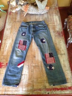 Vintage Levi's Patchwork Flag July 4th Not Big E Faded Distressed #Levis #501
