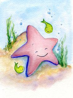 Nursery Beach, wall decor, handmade, Baby Starfish, original watercolor painting. $25.00, via Etsy.