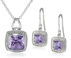 AMAETHYST NECKLACE EARRINGS SET: Sterling Silver Amethyst Earrings and Pendant Necklace Jewelry Set MORE PURPLE JEWELRY HERE: http://www.pinterest.com/FPdiva/%2B-jewelry-purple/