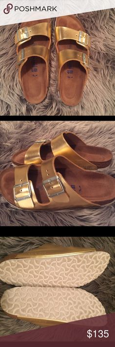 Gold Birks Only worn a couple times. I do not trade. No low ball offers. Fits a size 10. Birkenstock Shoes Sandals