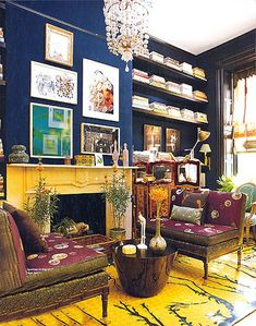 Muriel Brandolini's living room is done with indigo walls, eggplant and acid… Home Interior, Interior And Exterior, Interior Decorating, Decorating Ideas, Cottage Decorating, Beautiful Interiors, Colorful Interiors, Colorful Rooms, Design Interiors