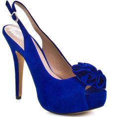 Vince Camuto Women's Motion - Cobalt Suede ($115) ❤ liked on Polyvore featuring shoes, pumps, heels, high heels, sapatos, open toe, vince camuto, trendy, stiletto heels and slingback