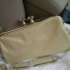 Gold night purse Night purse, can be used as a clutch or with a chain Bags Clutches & Wristlets
