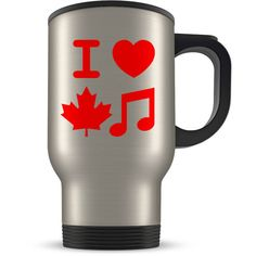 Canadian Music Travel Mug Love Canada Musicians Traveller Coffee Cup... (64 BRL) ❤ liked on Polyvore featuring home, kitchen & dining, drinkware, drink & barware, home & living, mugs, silver, birthday mugs and music mug