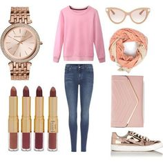 Outfit Idea 15 - Style Spacez Pink Cashmere Sweater, Blue denim jeans,h&m scarf,golden sneaker,pink clutch,sunglasses