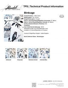 Alendel Fabrics Birdcage TPS | Technical Product Information Sheet