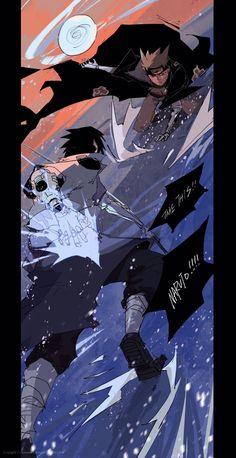 Naruto vs Sasuke, role reversal and cyberpunk AU by SYG, reposted with permission. Naruto Shippuden Anime, Sasuke, Naruto Drawings, Naruto Vs Sasuke, Naruto Sasuke Sakura, Anime Wallpaper