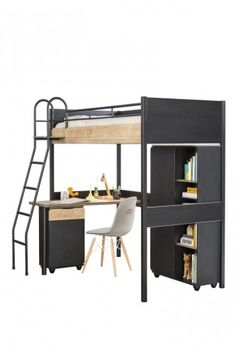 New York Compact Kids Bed Design, Study Table Designs, Loft Bed Plans, Furniture Disposal, High Beds, Wall Bookshelves, Black Bedding, Industrial, My Dream Home