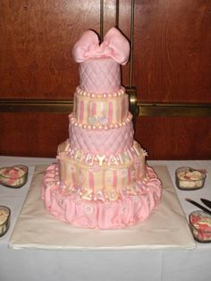 Pink Princess Baby Shower Cake, just the top two layers should be enough