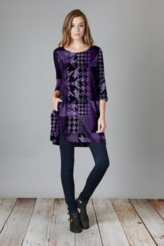 Purple & Black HoundstoothTunic