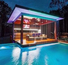 Outdoor Kitchen And Pool Backyard. Home Architecture Design Features Cool Outdoor Living . Home and Family Future House, Luxury Pools, Luxury Swimming Pools, Luxury Spa, Luxury Decor, Dream Pools, Swimming Pool Designs, Cool Pools, Awesome Pools