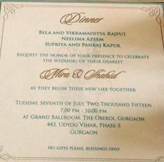 Here is a look at the wedding invitation of Shahid Kapoor and Mira Rajput