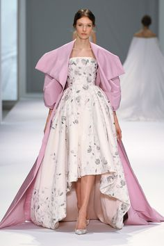 White silk faille gown with pale pink faille lining, floral thread-work and three dimensional hand embroidered crystal flower buds. Rose pink silk faille voluminous sleeve coat.