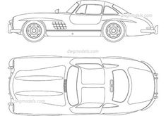 Lowrider Drawings, Car Drawings, Mercedes Benz 300, Autocad, Old Car Parts, Cad Blocks, Futuristic Cars, Car Sketch, Old Cars