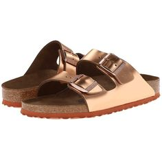 Birkenstock Double Strap Rose Gold Sandals ❤ liked on Polyvore featuring shoes, sandals, double strap shoes, birkenstock shoes, birkenstock, double strap sandals and birkenstock sandals