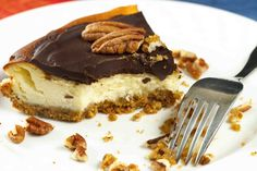 Feta Cheesecake with a Rich Chocolate Ganache - Chef Dennis Chocolate Sprinkles, Mint Chocolate Chips, Best Chocolate, Chocolate Ganache, Turtle Cheesecake, Chocolate Chip Cheesecake, Roasted Almonds, Toasted Pecans, Online Cake Delivery