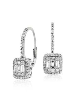 Add a touch of vintage sophistication to your wedding day with these diamond lever-back diamond earrings.