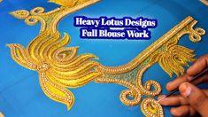 Super Heavy Lotus Designs Blouse Work For Aari Embroidery   Nakshatra De... Work Meaning, Aari Embroidery, Lotus Design, Blouse Designs, Jersey Designs, Lotus Flower Design