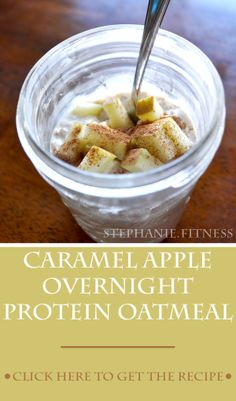 Caramel Apple Overnight Protein Oatmeal   Healthy Breakfast   Great Post Workout Meal   Stephanie.Fitness   www.stephaniedotfitness.com Breakfast Recipes, Snack Recipes, Cooking Recipes, Protein Recipes, Snacks, Clean Recipes, Healthy Recipes, Post Workout Food, Workout Meals