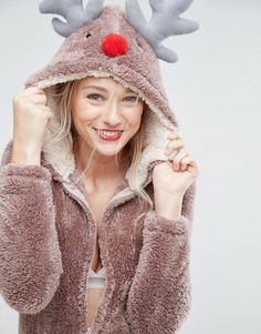 Buy Loungeable Brown Christmas Reindeer Onesie at ASOS. With free delivery and return options (Ts&Cs apply), online shopping has never been so easy. Get the latest trends with ASOS now. Disney Onesies, Disney Pajamas, Cozy Pajamas, Onesie Pajamas, Cool Costumes, Halloween Costumes, Costume Ideas, Reindeer Onesie, Christmas Onesie